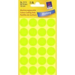 Zboží na objednávku - Etikety Avery Zweckform 3174 neon zelené kolečko 18mm 96ks