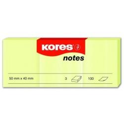 Lepicí bloček Kores 50x40mm 3x 100 lístků žlutá