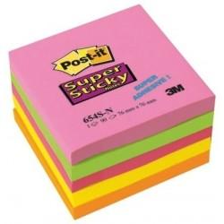 Lepicí bloček 3M Post-It 654 76x76mm 5x 90 lístků barevný mix silně lepicí