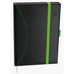 Diář.20 BDD20-5 David - nero - denní A5 gumička a poutko 143x205 černá - zelená