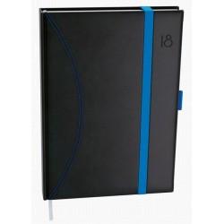Diář.21 BDD20-11 David - nero - denní A5 gumička a poutko 143x205 černá - světle modrá