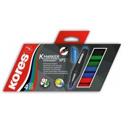 Popisovač permanentní Kores K-marker 3mm /6ks sada barev