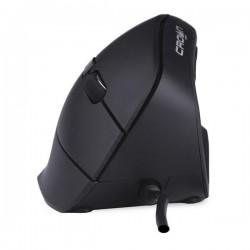 Myš Crown 1600DPI optická, drátová, černá, ergonomická, vertikální - UKONČENÝ PRODEJ