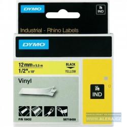 Dymo páska 12mm x 3.5m černý tisk / bílý podklad 18488 RHINO nylonová flexibilní