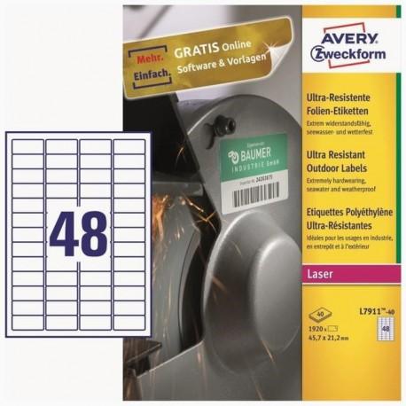 Zboží na objednávku - Etikety PE Avery Zweckform L7780 prům.40 mm průhledné
