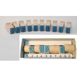 Razítko dřevěné sada 10kusů čísla 0-9 velikost 10mm